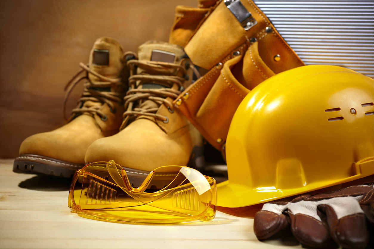 work boots and hard hat