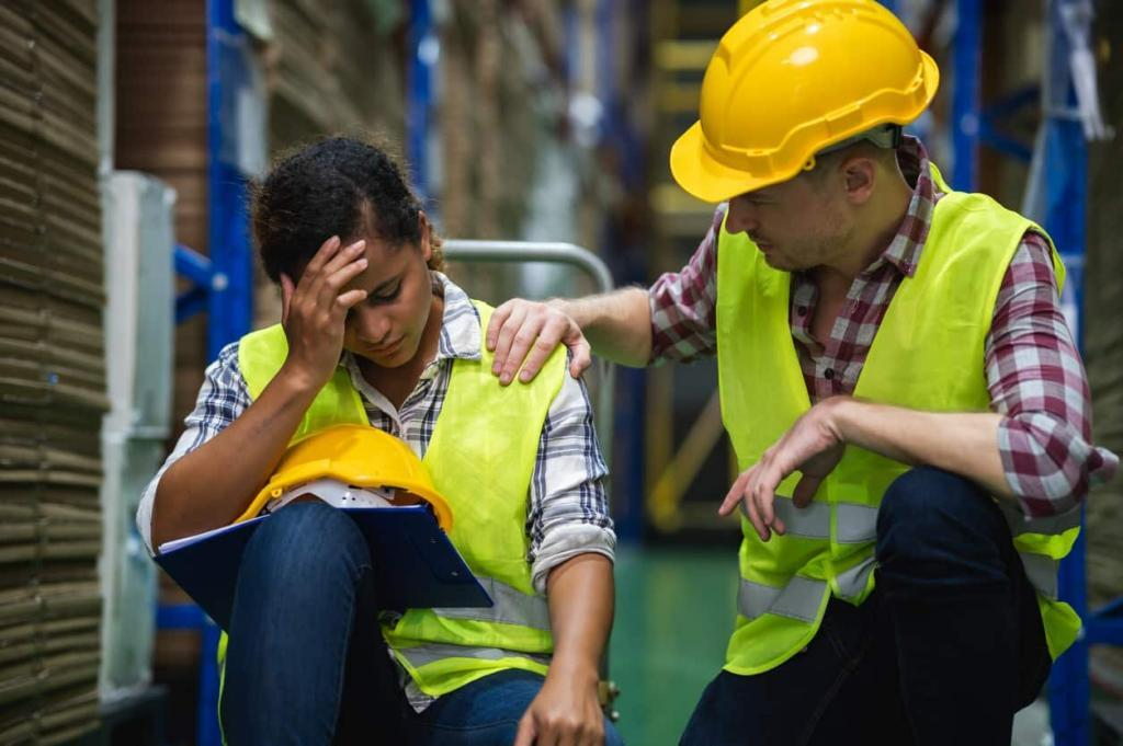 female worker injured on the job