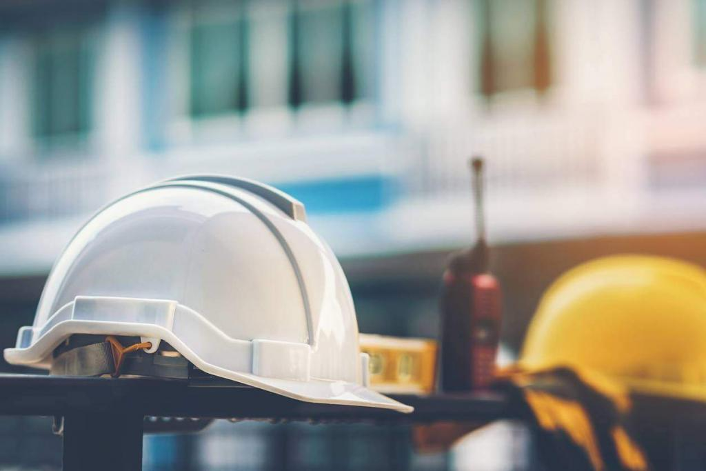 hard hats at a work site